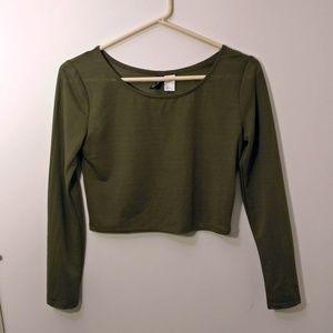 H&M Olive Semi-sheer Long Sleeve Crop